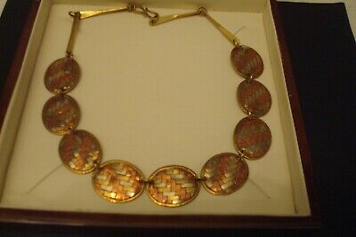 Vintage Arts & Crafts Style Brass/Copper Link Necklace.