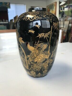 Antique Chinese Porcelain Vase Mirror Black With Gold Designed 6 Character Mark