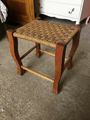 Vintage Traditional Fireside Stool String Weave Seat  23/12/F