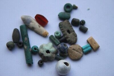 Ancient  Egyptian faience amulets 1st century BC pendant, counters, beads,leaf