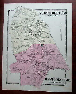 Northborough Westborough 1870 Worcester County Mass. detailed map