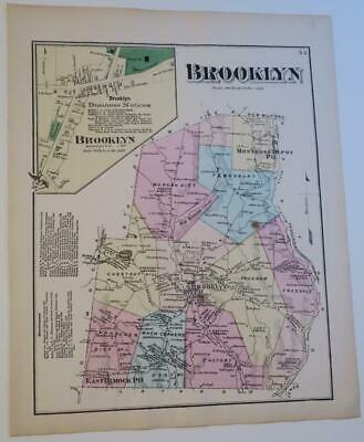 1872 Susquehanna County PA HAND-COLORED Map,BROOKLYN Townshp,OWNERS,BUSINESSES