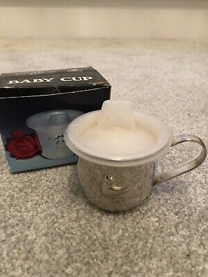 Silver Plated Duck Baby Cup Mug Boys Girls Christening Gift & Box Vintage
