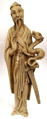"""Vintage Asian Ivory Colored Carved Statue Sculpture Man and Dragon 10"""" Chipped"""