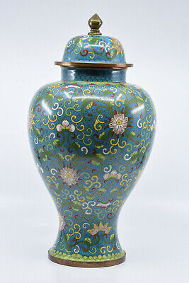 Antique Chinese Export Cloisonne Large Ginger Jar, 14 inches tall - 🐘