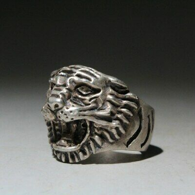 Collectable China Ancient Miao Silver Carve Delicate Tiger Head Interesting Ring