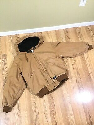 Walls Blizzard Pruf Canvas Duck JACKET Size L Hooded Coat Quilt Lined