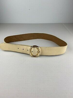 J Crew Womens Waist Belt S Small Off White Ivory Leather Brass Bamboo Buckle