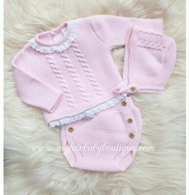Spanish Romany Baby Girls Pink Knitted 3 Piece Outfit.18 months. Romany 🌟SALE🌟