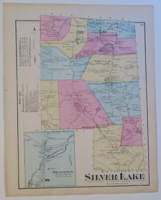 1872 Susquehanna County PA HAND-COLORD Map,SILVER LAKE Townshp,OWNERS,BUSINESSES