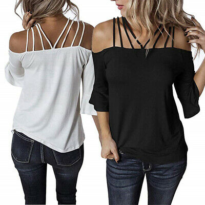 Womens Beach Shirts Sexy Sling Blouse Cold Shoulder Tops Casual T-shirt Summer