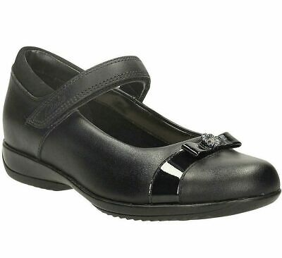 Clarks DAISY LOCKET Infant Girls Black Leather School Shoes UK 11.5 G Wide NEW