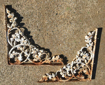 Architectural Large Vintage Cast Iron Ornate Shelf Brackets Oak Leaf Acorn-Pair