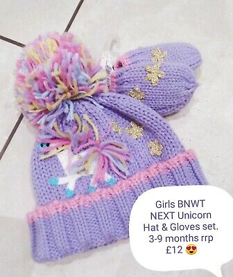 BNWT Girls Next 2 Piece Hat And Gloves Set RRP £12  Age 3-6 Months