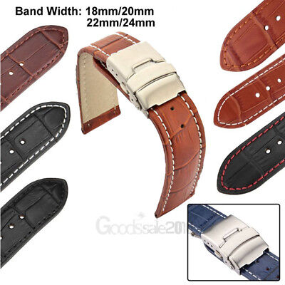 Mens Genuine Leather Watch Strap Band Croco Deployment Clasp Spring Bars 2020New