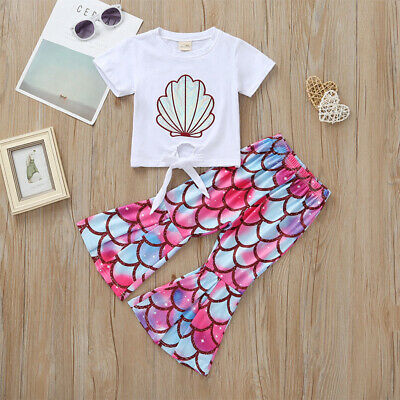 Girls  Pink Shell Summer suit T-shirt Flare Trousers Kids Birthday Gift
