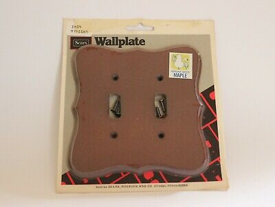 Vintage Sears Outlet Light Switch Cover Genuine Maple Wood Wall Plate Retro New