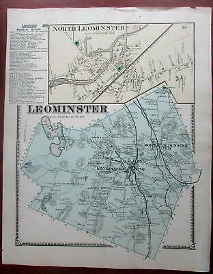 Leominster 1870 Worcester Co. Mass. detailed map many home owners