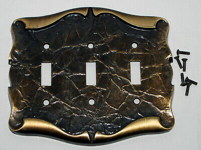 Vtg 3 Light Switch Plate Cover Triple Scroll Hammered Metal Look Amerock Ornate