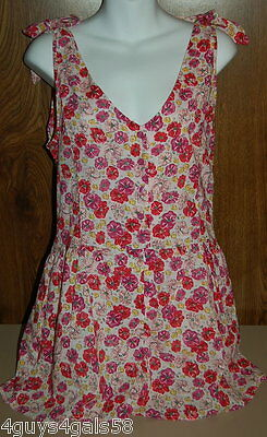 tank top ~ floral ~ XL white reds pink Miley Cyrus retail16.00 Romper ~ Shorts
