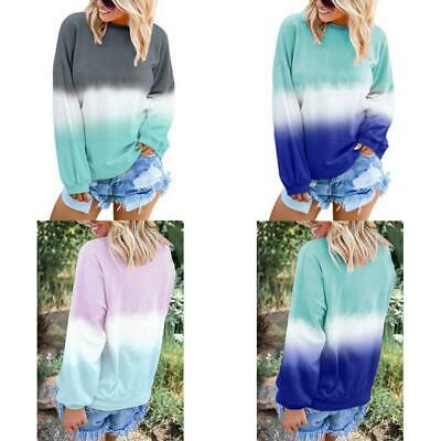 Women Autumn Winter Gradual Printed Long Sleeve Sweatshirt Loose s2zl