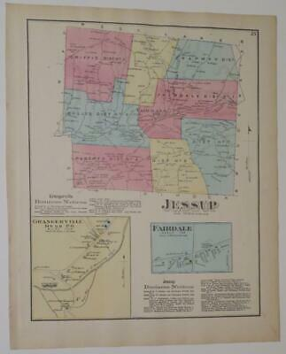 1872 Susquehanna County PA HAND-COLORD JESSUP Townshp & FAIRDALE MAP,BUSINESSES,