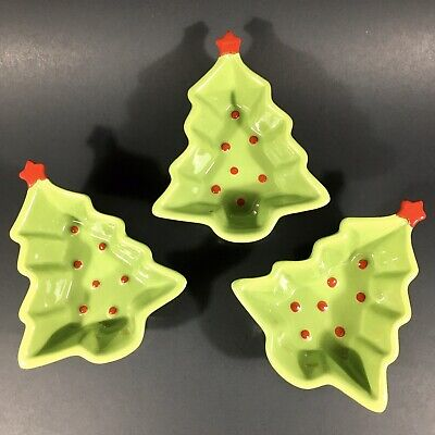 "Adorable Set of 3 Christmas Tree Dip/Candy Dishes/Bowls 4""x4"" Mud Pie MudPie"