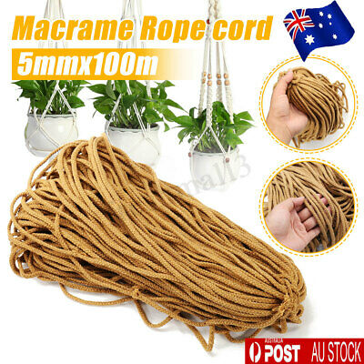 5mm Macrame Rope Natural khaki Cotton Twisted Cord Artisans Hand Craft 100M AU ☆