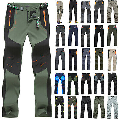 Mens Quick Dry Trousers Tactical Waterproof Cargo Straight Combat Hiking Pants
