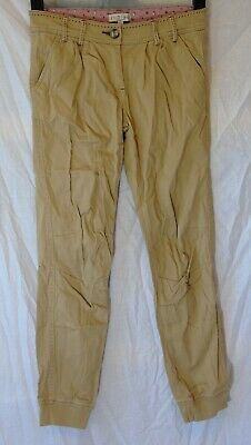 Girls M&S Beige Chino Cotton Adjustable Waist Cuffed Trousers Age 10-11 Years