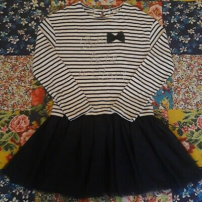 Mayoral Age 9 Girls Spanish Designer Long Sleeved Striped Navy Tutu Dress Winter