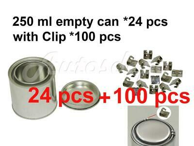 1/2 pint, 250 ml Empty Metal Paint Can (24 Cans and Lids) with Lock Clips 100pcs
