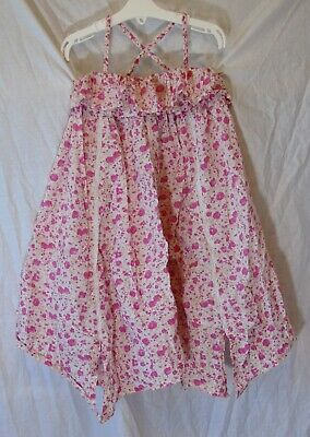 Girls Next Pink White Floral Sparkly Silver Stripe Hanky Hem Dress Age 5 Years