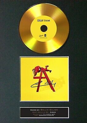 BILLIE EILISH Don't Smile At Me Mounted Signed Autograph GOLD CD Print A4 #195