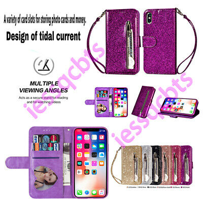 Fr Samsung Galaxy S11 S10 S9 S8 S7 Bling Leather Flip Wallet Stand Case Cover