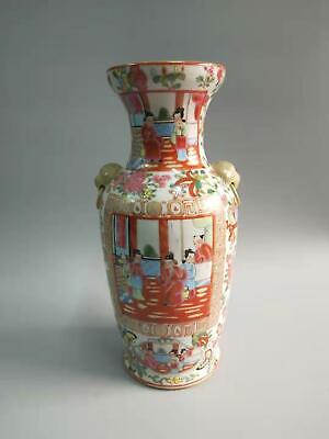Exquisite Chinese Kwon-Glazed Porcelain Figures Vases Hand-painting Double-Ears