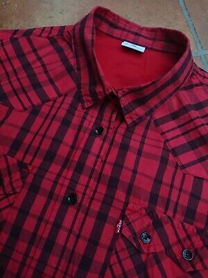 Funky Boys Kids Levis Strauss & Co. Red Black Check Shirt UK Large ptp 18.5""