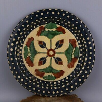 """Old Chinese Porcelain Tri colored glazed pottery hand carved  lotus plate 11.6"""""""