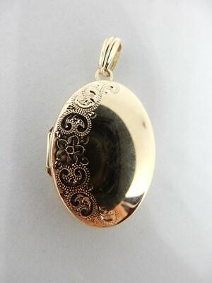 Beautiful 14 Kt Yellow Gold, Floral Detailed Oval Locket Pendant     #W740