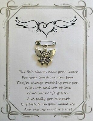 Loving Memory Remembrance Sympathy Memorial Funeral Wish Pin Card Gift Keepsake