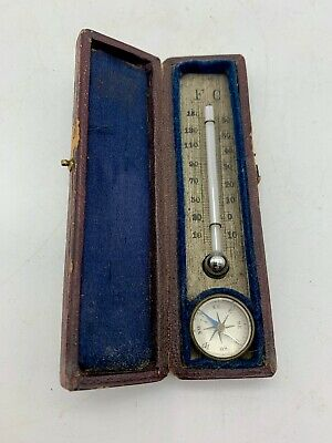 Antique Campaign Thermometer and Compass circa 1875