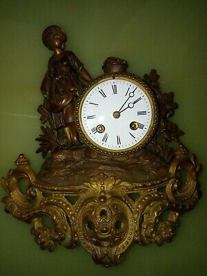 Antique Machenaud French Gilt Bronze Wall Clock with Lady 19th Century