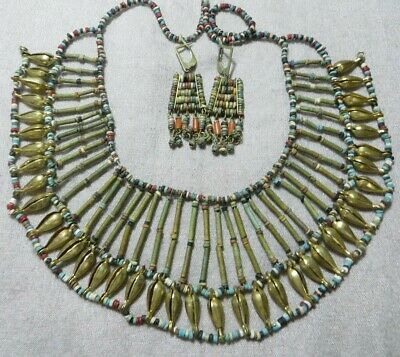Art Deco Brass Ancient Beads Egyptian Revival Cleopatra Necklace/Earrings Set