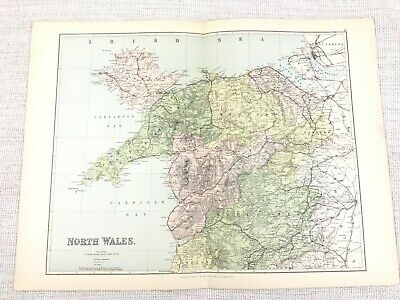 1889 Antique Map of North Wales Carnarvon Montgomery Anglesey Welsh 19th Century