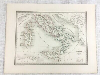 1846 Antique Map of Italy Ancient Historical Antiquity Hand Coloured Engraving