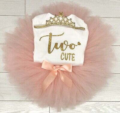 Girls 2nd Second Birthday Party Outfit Tutu Skirt Vest Top Headband Two Cute 23 99 Picclick Uk