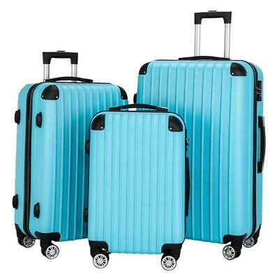 """Suitcase 4 Wheel Spinner Hard Shell Luggage Trolley Cabin Case 20"""" 24"""" 28"""" Blue"""
