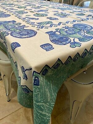 Pier 1 One Cotton Farmhouse Tablecloth- Blue Teal Green Ecru  Aqua Pottery 60x84