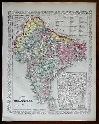 India Hindoostan Delta of Ganges inset 1857 DeSilver lovely uncommon map