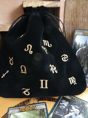 ~ Velvet Astrological Black Bag for Tarot Oracle Runes Wiccan Pagan Witch Altar